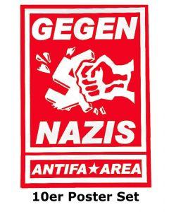 KEIN BOCK AUF NAZIS 'Gegen Nazis - Antifa Area' 10er Posterset