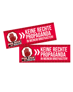 KEIN BOCK AUF NAZIS 'Keine Rechte Propaganda' Briefkastenaufkleber 2er Set