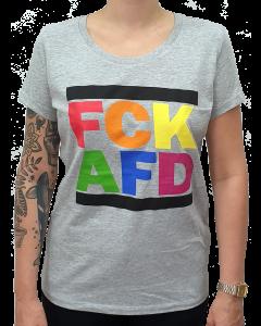 KEIN BOCK AUF NAZIS 'FCK AFD Rainbow' Girlie graumeliert
